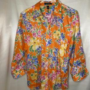 Lauren Ralph Lauren Orange Floral Button Down XL